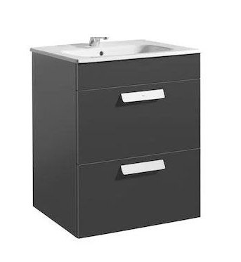 Roca Debba 605mm Gloss Anthracite Grey Basin Unit (2 Drawer)