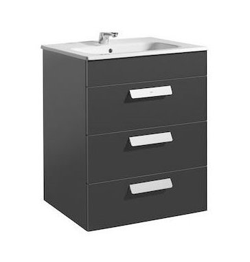 Roca Debba 605mm 3 Drawer Gloss Anthracite Grey Vanity Unit and Basin