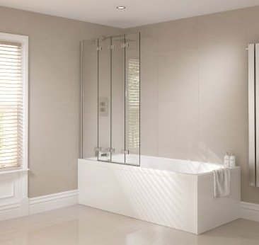 April Prestige Frameless 4 Panel Folding Bath Screen