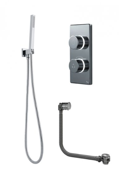 Britton Bathrooms Pumped Digital Shower With Square Handspray/Holder And Overflow Bath Filler