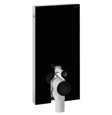 Geberit Monolith Black Glass Sanitary Module for Floor Standing Toilet, 101cm, with Straight Connector
