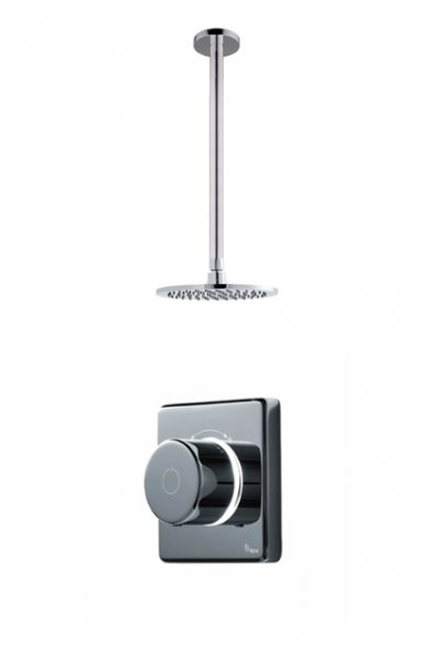 Britton Bathrooms Standard Digital Shower With Ceiling Mounted Round Fixed Head