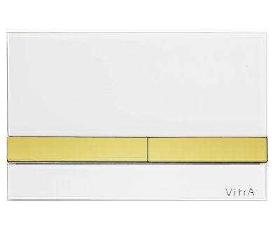 Vitra White Glass with Gold Buttons Flush Plate