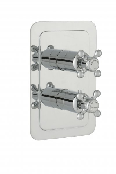 JTP Grosvenor Cross Chrome 2 Outlet Thermostatic Concealed Shower Valve