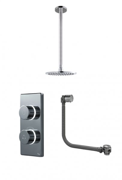 Britton Bathrooms Standard Digital Shower With Ceiling Mounted Round Fixed Head And Overflow Bath Filler