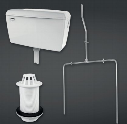 RAK Compact 9.0l Concealed Urinal Cistern Complete With Pipe Sets, Spreader And Waste For 2 Urinals