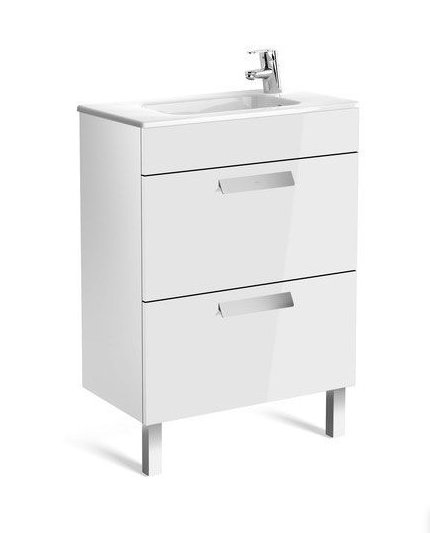 Roca Debba 605mm Compact Basin & Gloss White Unit (2 Drawer)