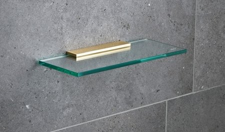 Miller Classic Brass 300mm Glass Shelf