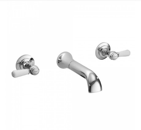 Bayswater White & Chrome Lever 3TH Wall Bath Filler with Hex Collar