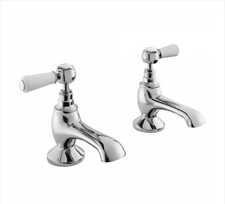 Bayswater White & Chrome Lever Bath Taps with Hex Collar