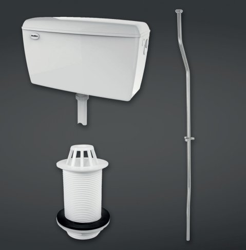 RAK Compact 4.5l Exposed Urinal Cistern Complete With Pipe Sets, Spreader And Waste For 3 Urinals