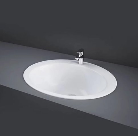 RAK Over Counter Basins 53cm 1 Tap Hole Jessica Over Counter Wash Basin With No Overflow
