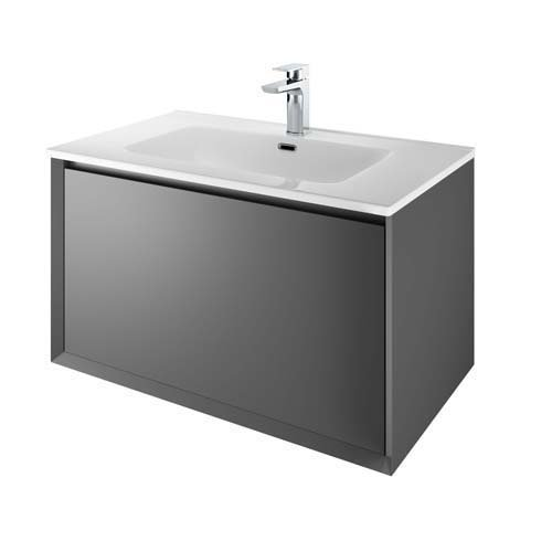 The White Space Distrikt Wall Hung Vanity Unit - 810mm Wide Matt Anthracite Grey