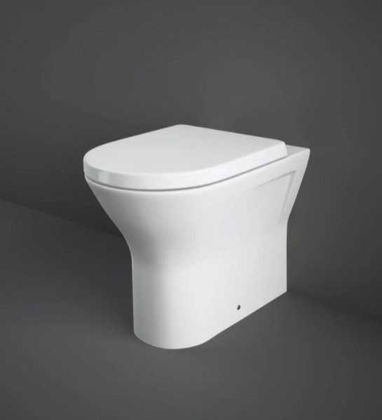 RAK Resort 42.5cm Comfort Height Back To Wall Pan With Wrap Over Soft Close Seat