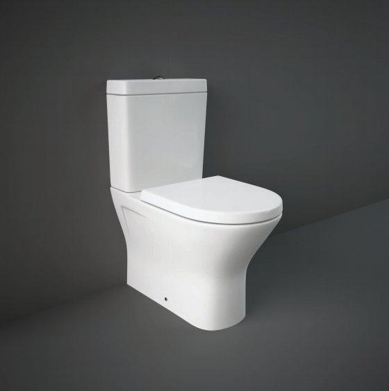 RAK Resort Mini Close Coupled Back To Wall WC Pan With Wrap Over Soft Close Seat