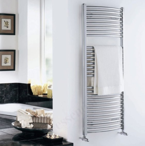 Essential Curved Chrome 1100 x 500mm Towel Warmer