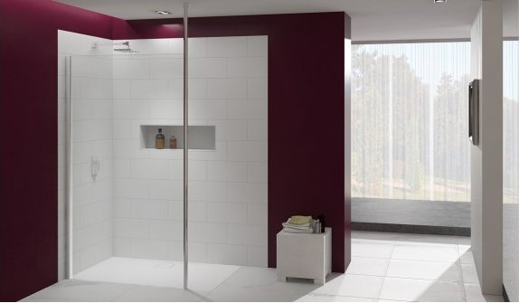 Merlyn 8 Series Shower Wall with Vertical Post