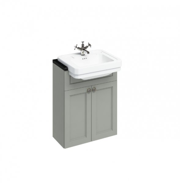 Burlington Bathrooms Dark Olive 60cm Semi Recessed Basin Unit