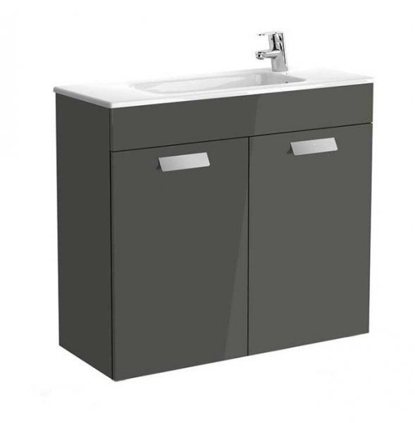 Roca Debba 805mm Compact Basin & Gloss Anthracite Grey Unit (2 Door)