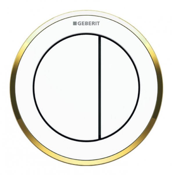 Geberit Type 10 Gold/White Dual Flush Button For 12 and 15cm Concealed Cistern