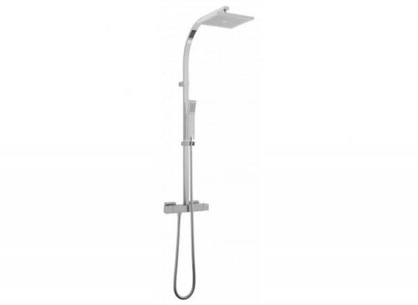 Vado Velo Square Thermostatic Shower Column with Integrated Diverter