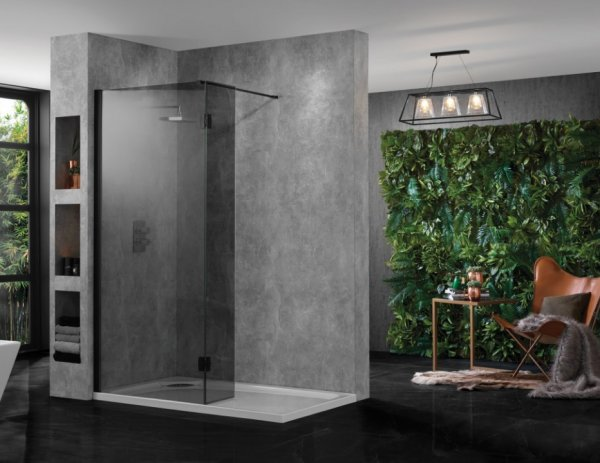 Aquadart Wetroom 10 Smoked Glass Walk In with Return Panel