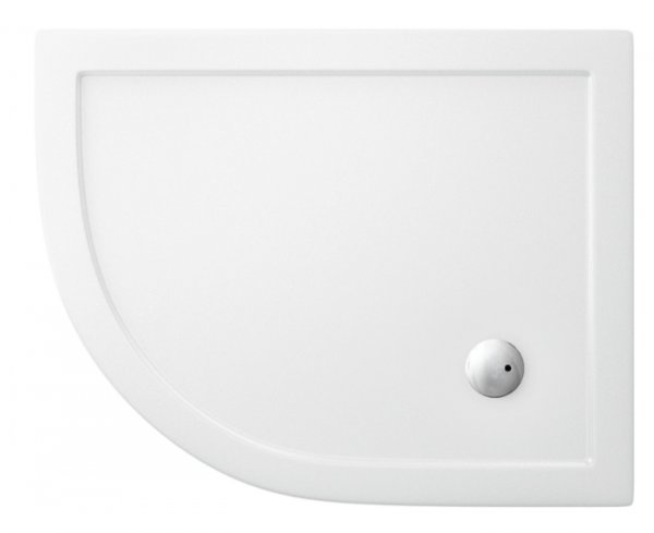 Zamori 900 x 800mm White Offset Quadrant Shower Tray