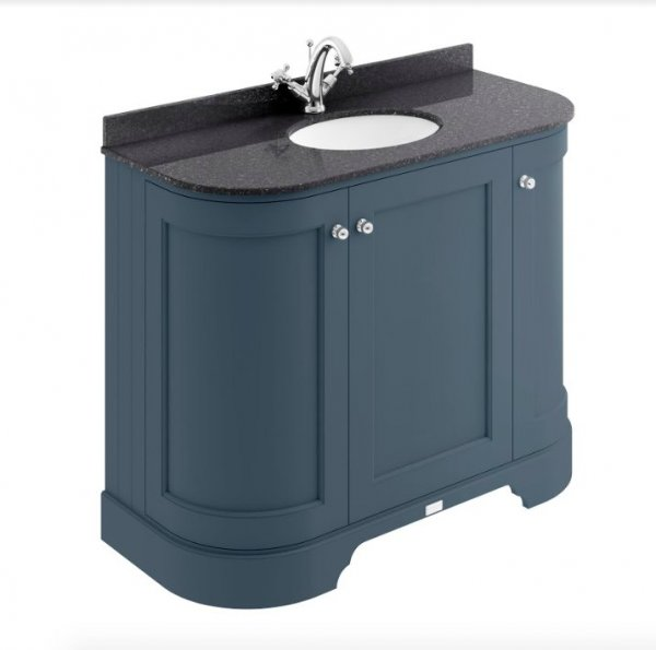 Bayswater Bathrooms Stiffkey Blue 1000mm 3-Door Curved Basin Cabinet