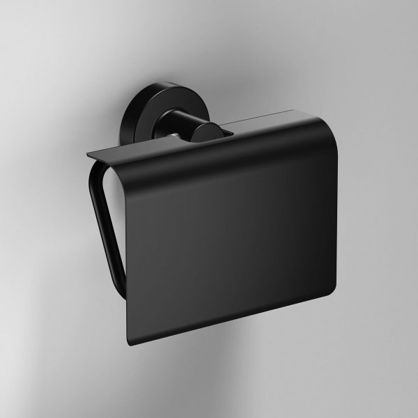 Bathroom Origins Tecno Project Black Toilet Roll Holder With Flap