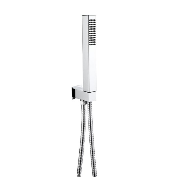 RAK Chrome Square Shower Handset With Hose And Bracket