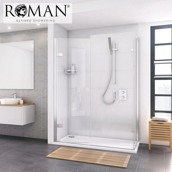Roman Decem x 1700mm Hinged Door with Finger Pull Handle