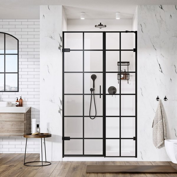 Roman Liberty Black Grid Hinged Door with In-Line Panel