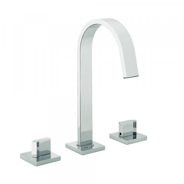 Just Taps Plus Leo 3-Hole Basin Mixer Tap Deck Mounted Chrome