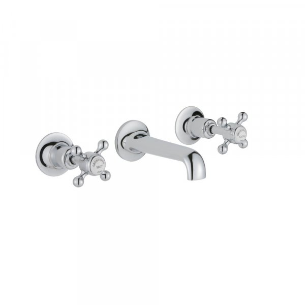 Just Taps Plus Grosvenor 3-Hole Wall Mounted Basin Mixer Tap Cross Handle - Chrome
