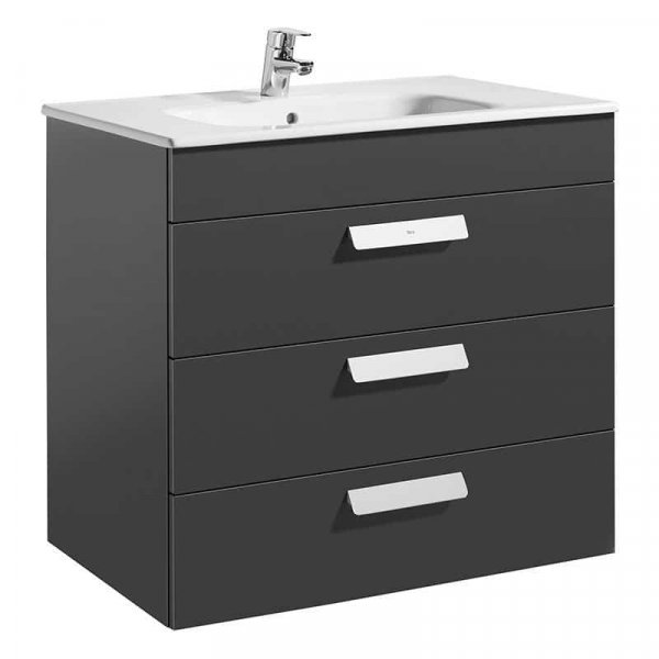 Roca Debba 805mm Gloss Anthracite Grey Basin Unit (3 Drawer)