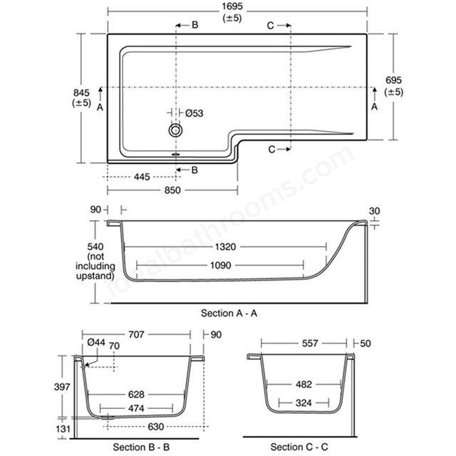 Ideal Standard Concept Space Idealform 170cm Square Shower