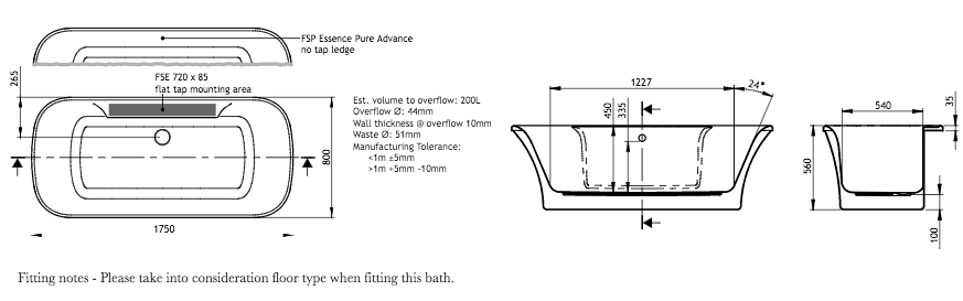 Adamsez Essence Advance 1750 x 800mm Freestanding Bath with Tap Ledge