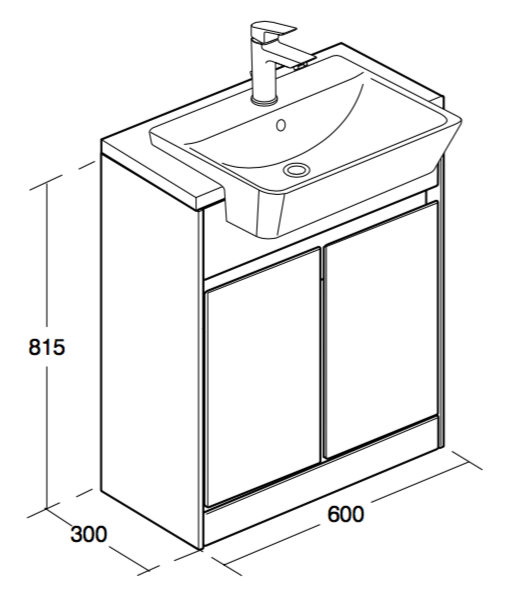 Ideal Standard Concept Air 600mm Floor Standing Semi Countertop Basin Unit