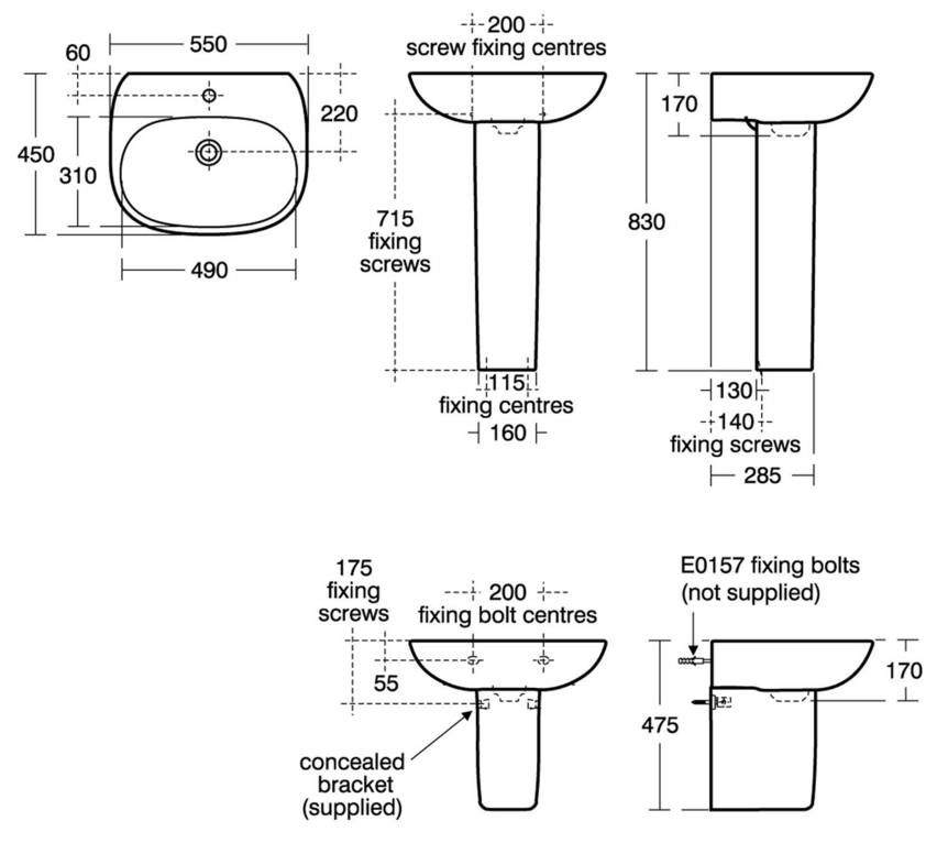 Ideal standard tesi 55cm pedestal basin bathroom for Tesi design ideal standard