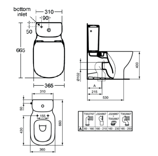Ideal Standard Tesi Close Coupled Back to Wall WC with Aquablade