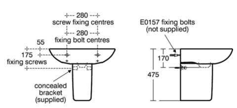 Ideal standard tesi 60cm pedestal basin bathroom for Tesi design ideal standard