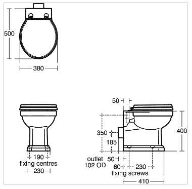 Ideal Standard Waverley Back to Wall WC Pan - Horizontal Outlet