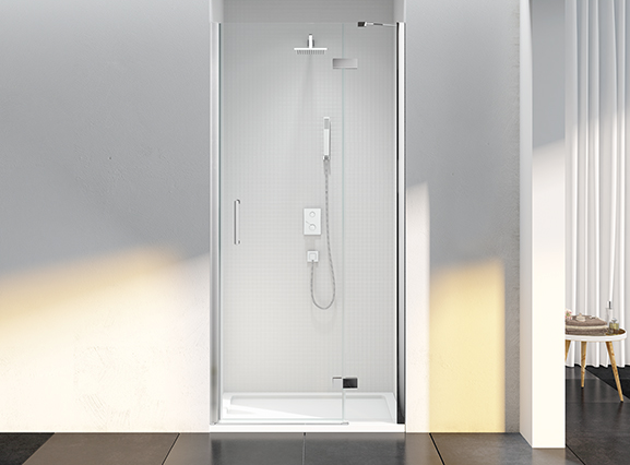 Merlyn 6 Series Frameless Hinge & Inline in a Recess