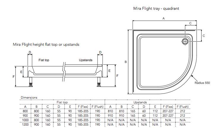 Mira Flight 900 X 900mm Quadrant Shower Tray