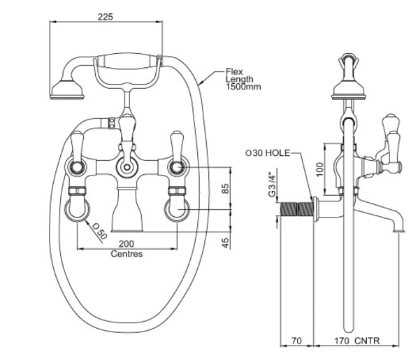 Perrin & Rowe Wall Mounted BSM with Lever Handles (3006/1)