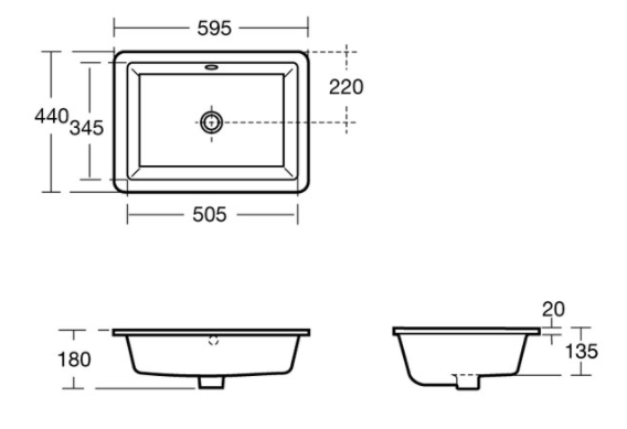 Sottini Magra 60cm Under Countertop Basin