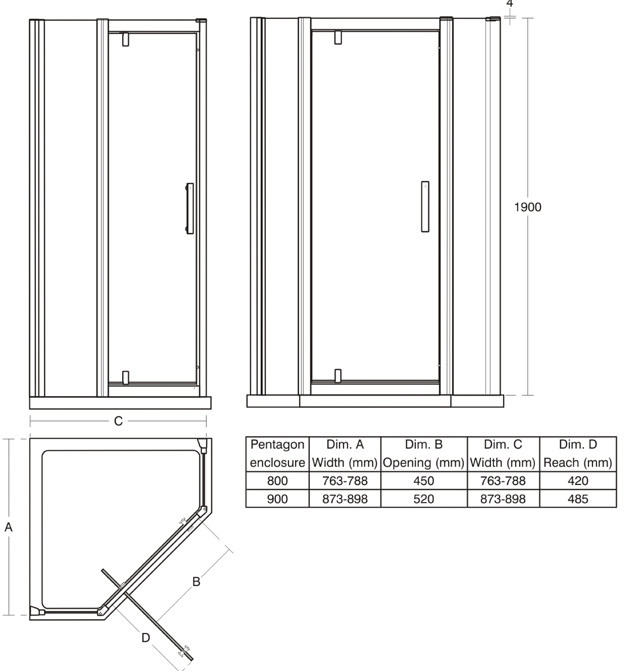 Ideal Standard Synergy 900mm Pentagon Pivot Door
