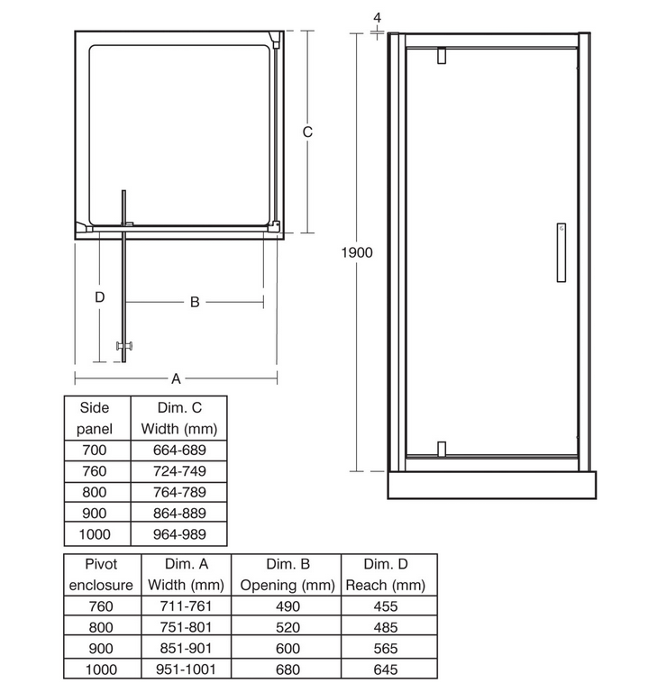 Ideal Standard Synergy 900mm Pivot Door