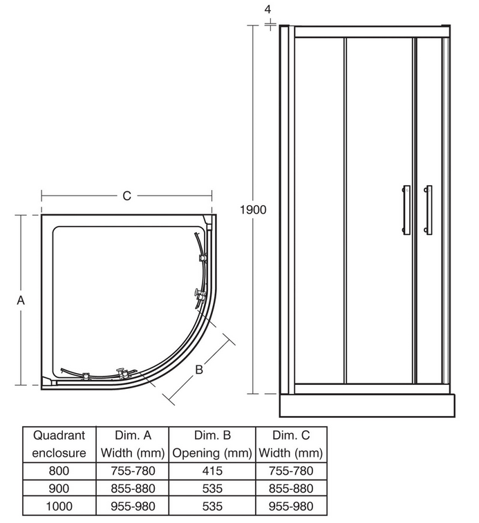 Ideal Standard Synergy 800mm Quadrant Shower Enclosure