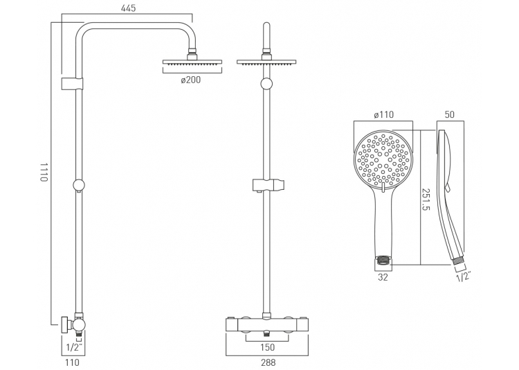 Vado Atmosphere Thermostatic Shower Valve with Integrated Diverter